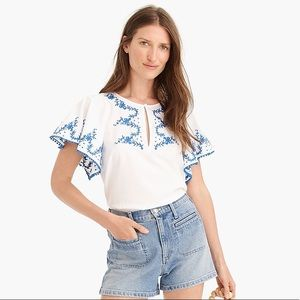 J. Crew Tops - J. Crew Embroidered Flutter Sleeve Top